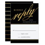 Unique Modern Black & Gold Script Reply Cards