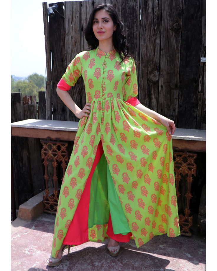 The Secret Label Green Cotton Printed Front Sllit Kurta
