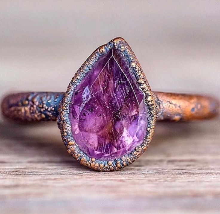 Amethyst Tear Drop and Copper Ring || Available in our 'MOST LOVED' Collection || www.indieandharper.com