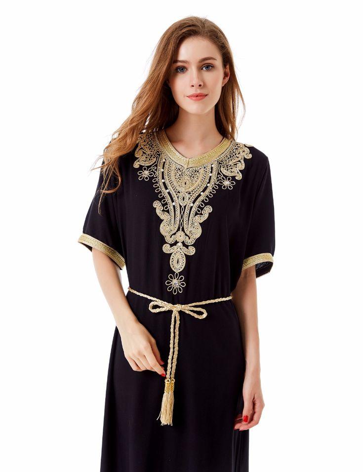 イスラム教徒の女性ロングスリーブドバイdressマキシアバヤjalabiyaイスラム女性dress服ローブカフタンモロッコファッションembroidey1605