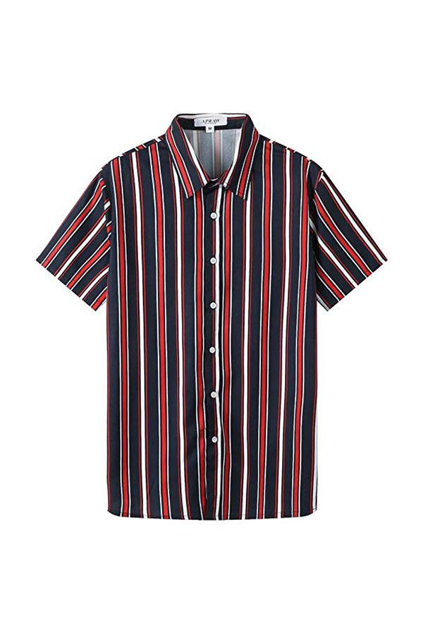 APRAW Mens Fashion Short Sleeve Casual Slim Fit Vertical Striped Button Down Shirts