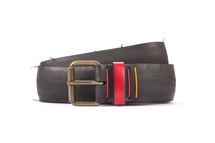 #2702 - Black belt from a spare race bicycle tyre, entirely handcrafted, iron branded and numbered. Red, leather belt loop. Strap folded up and stitched up with cotton colored strings.