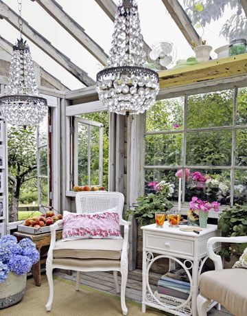 gardens - outdoor sitting area, hothouse, green house, white, wicker, furniture, crystal,