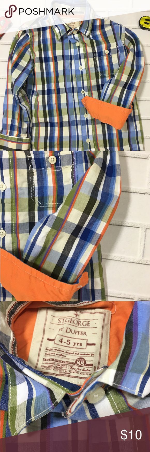 Little Boys button down shirt from UK size 4-5 Y Little Boys Plaid Button Down Shirt with sleeves that can be cuffed to show orange. UK brand St. George by Duffer. Size 4-5 Y. Very Good Condition. St George by Duffer Shirts & Tops Button Down Shirts