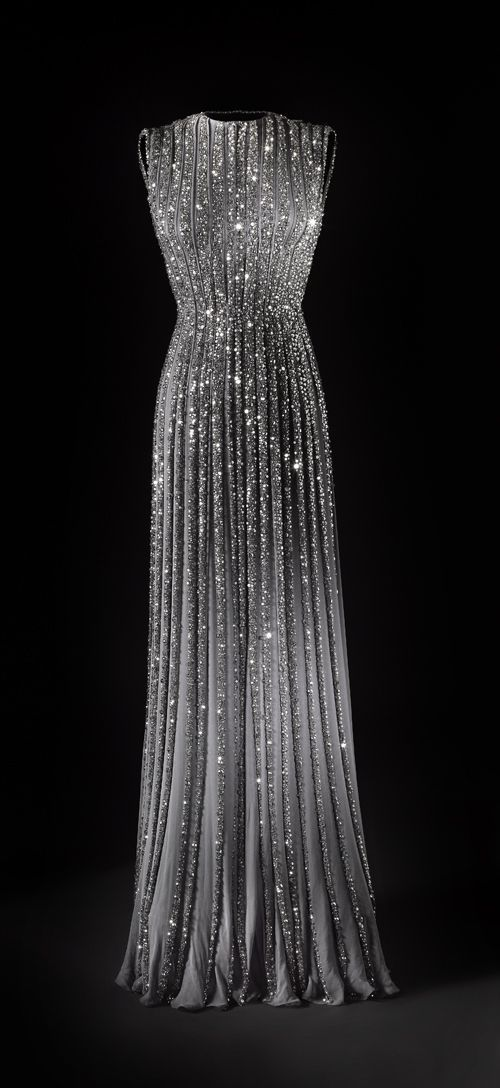 Pleated Chiffon Gown With Beading / Sparkle / Pinterest