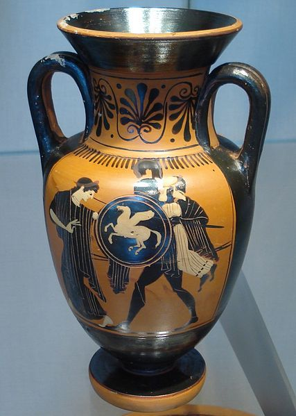 Etruscan neck amphora Aeneas carrying his father Anchises on his back during the fall of Troy.	circa 500BC
