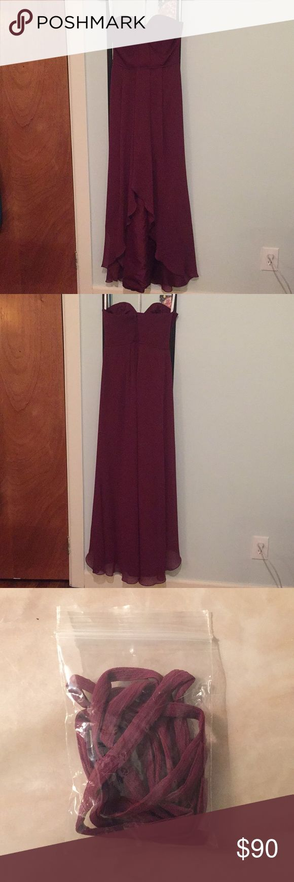David's Bridal High-Low Bridesmaid Dress - Merlot David's Bridal Bridesmaid Dress - UNALTERED  Size 6 - unaltered. Strapless (comes with attachable straps) sweetheart neckline, A-line waist, high-low hemline, boning in bodice, polyester double lining, crepe overlay  Picture #4: dress is last one on the right Picture #5: second one in from the left (color not accurately represented in this picture) Dresses High Low