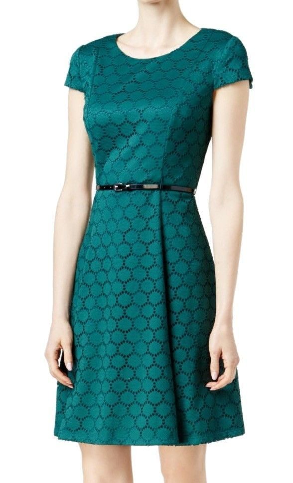 Cool Awesome Jessica Howard NEW Dark Green Womens Size 8P Petite Belted Sheath Dress $89 193 2018