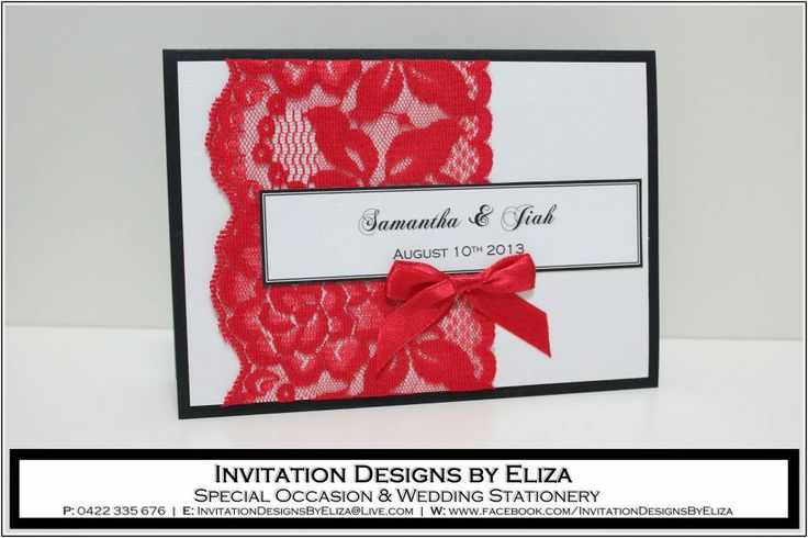 Invitation Designs  {Wedding} Black, White & Red Theme https://www.facebook.com/InvitationDesignsByEliza