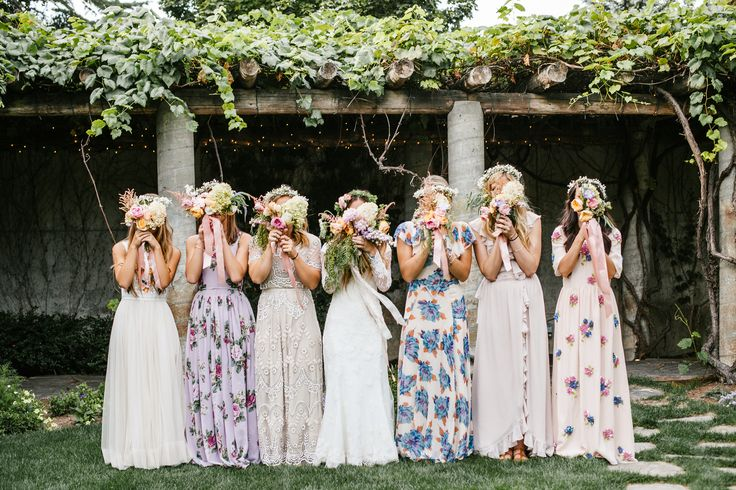 Mixed Bohemian Bridesmaids dresses