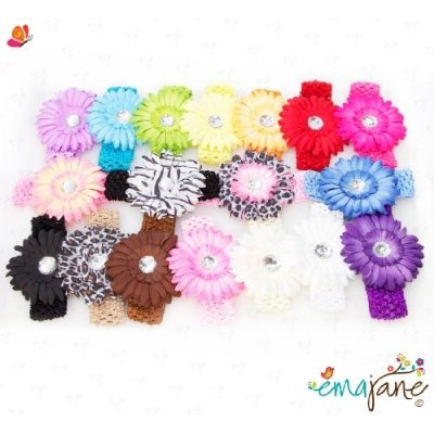 Ema Jane - 16 Large Gerber Daisy Flower Hair Clip Bows (32 Pack 16 Flowers 16 Headbands) with Soft Stretch Crochet Child Head Bands - Will Fit Infants Baby Toddlers Girls Youth Newborns