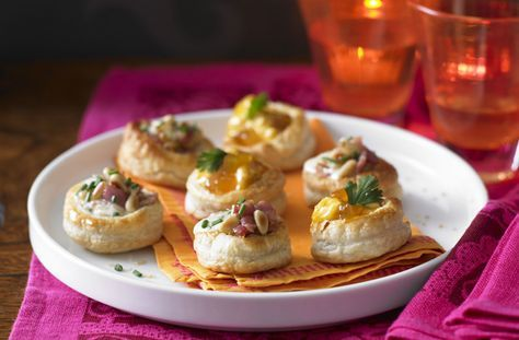 These vol au vents make perfect party food. With 4 different vol au vent fillings - they'll be gone in a flash! This easy recipe uses readymade pastry. Fill these ready-made vol-au-vent cases with these four varieties of filling including mushroom, chicken, prawn and ham and pineapple for some easy but impressive party canap�s. Your friends and family are going to be impressed with this delicious range of easy to make vol au vents. To make a batch of 24 it will take around 40 mins to…