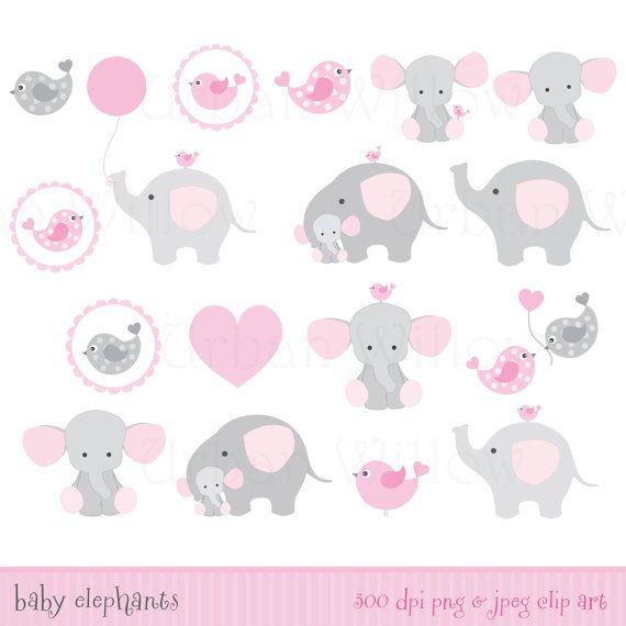 Juego de ducha bebé elefantes Clip art & por LittlePumpkinsPix
