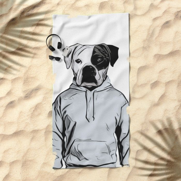 Cool Dog Beach Towel by Nicklas Gustafsson #dog #bulldog #boxer #human #illustration #hoody #hoodie #towel #beachtowel #beach