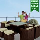Luxo Euro 9pc 8 Seater PE Wicker Outdoor Dining Setting Balcony Garden BBQ Pool Furniture Set Table and Chairs - Coffee Bean Brown