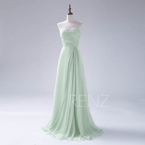 2015 Long Dusty Shale Bridesmaid Dress Chiffon Prom by RenzRags
