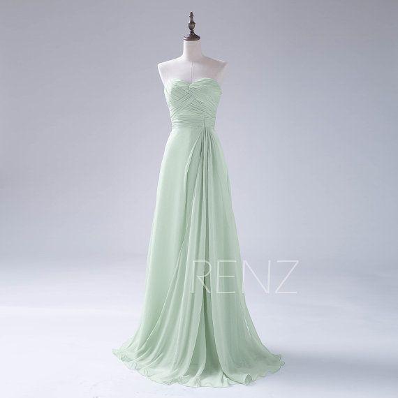 2015 Dusty Shale Bridesmaid DressLong Chiffon Prom by RenzRags
