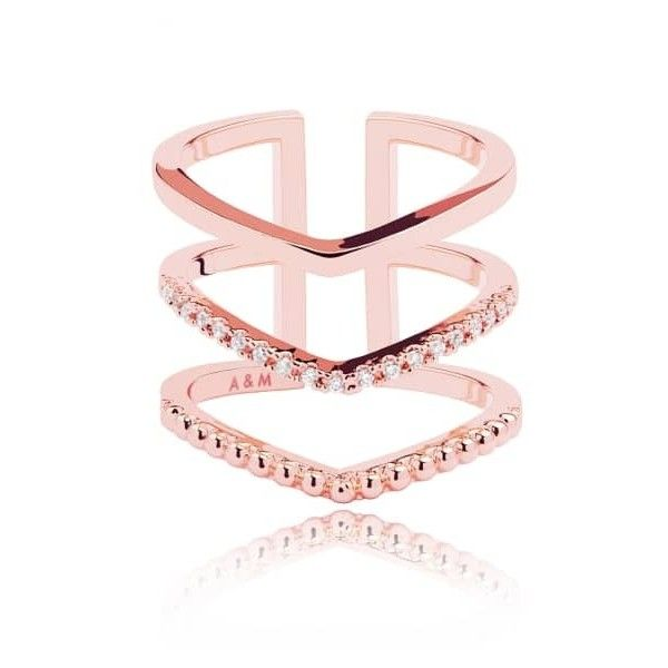 Astrid & Miyu - Mystic Ring in Rose Gold (€66) ❤ liked on Polyvore featuring jewelry, rings, sparkly rings, rose gold rings, adjustable rings, triple ring and rose gold jewelry