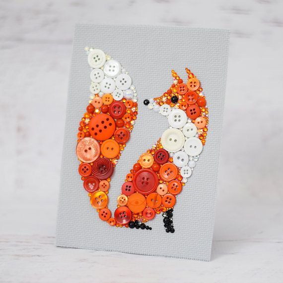 Custom Red Fox Button Art   Your bespoke button fox will be created on a 5x7 flat canvas panel or on a sturdy 5x7 wooden frame covered with a