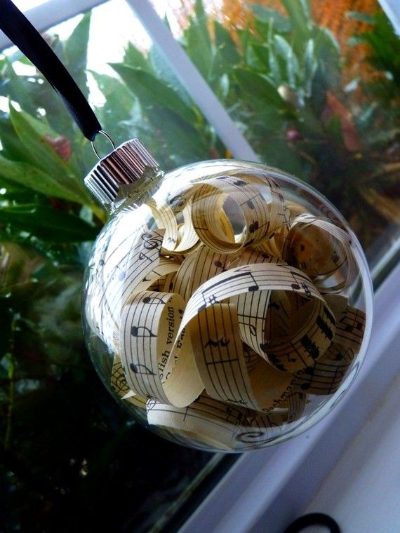 clear ornament + sheet music