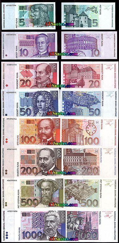 Croacia billetes - Croacia catálogo de papel moneda y la moneda croata.