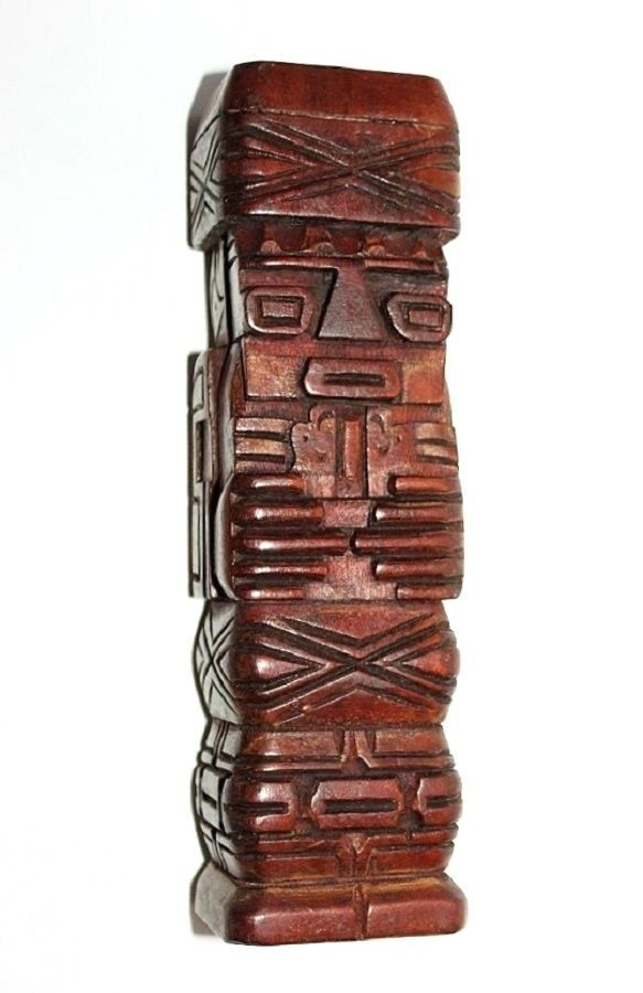 Vintage Pacific Island Souvenir Perhaps Hawaiin Hand Carved Statue or Totem