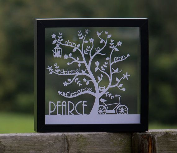 Family Tree papercut. Free UK delivery. A perfect birthday gift for him or her, a combined family Christmas present or buy this to compliment your home.