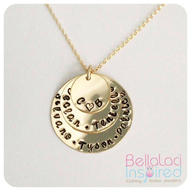 Gold Filled Handstamped Triple Love Stack Necklace.  #handstamped #gold #goldfilled #necklace