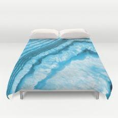 Blue Agate Slice Duvet Cover #agate #quartz #rocks #minerals #crystals #prettystuff #hygge