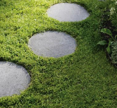 Trampsten - betong - sten - trädgårdssten - marksten - runda stenar - trädgård