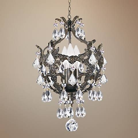 """Crystorama Legacy Collection Bronze 10"""" Wide Mini Chandelier"""