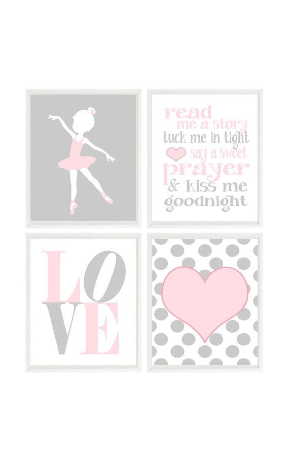 Ballet Nursery Art Baby Girl Room Hearts Pink by RizzleandRugee