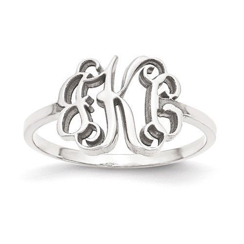 Sterling Silver Laser Polished Monogram Ring – Sparkle & Jade