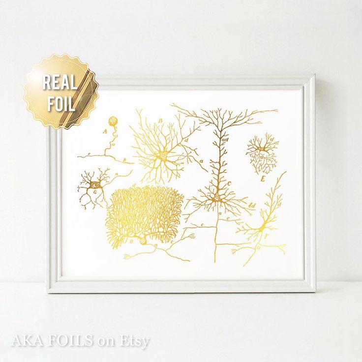 Neurona Neurociencia arte Arte oro hoja imprimir regalo para