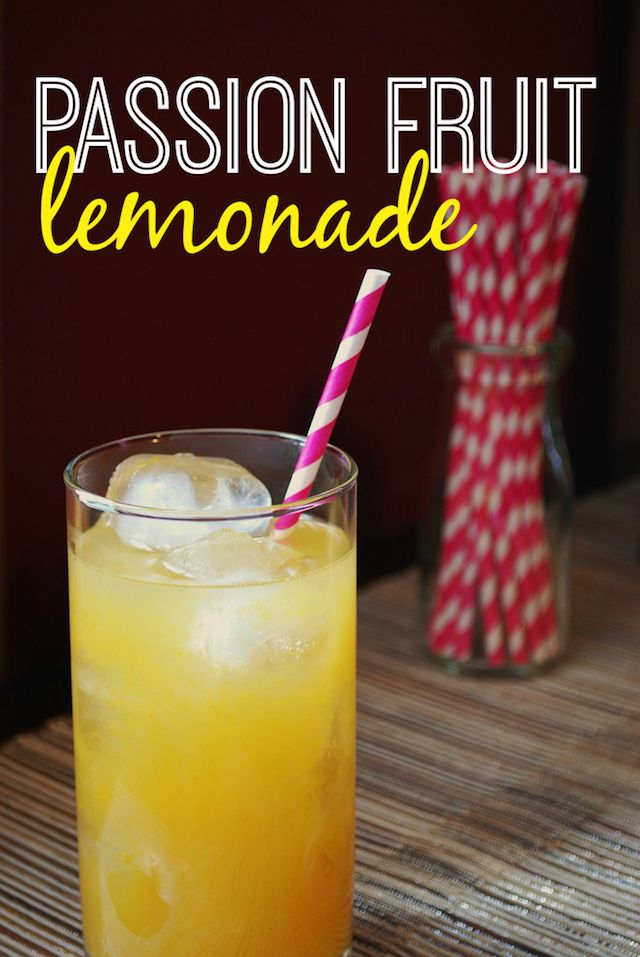 Easy Homemade Passion Fruit Lemonade from Always Order Dessert. Made with frozen passion fruit pulp. Perfect for summer parties and can be served non-alcoholic, or with rum or vodka added for the grown-ups!