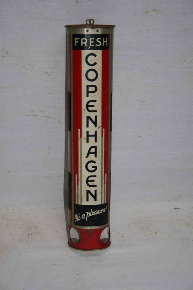1930'S COPENHAGEN TIN STORE DISPLAY SIGN ARE DECO CHEWING TOBACCO