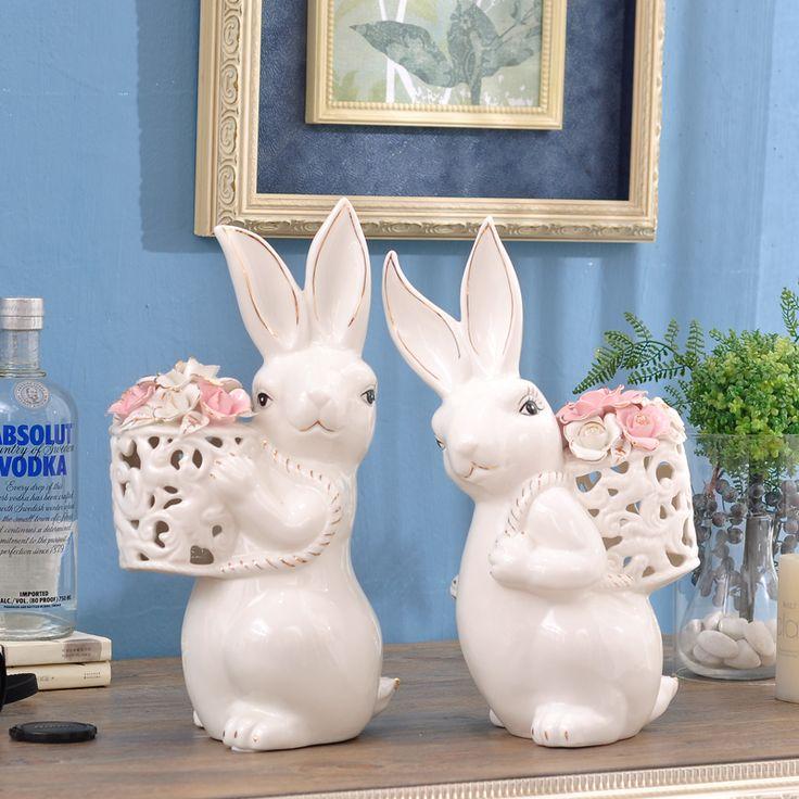 Criativo branco porcelana dourada coelho carry cesta de flores ornamentos decorativos de cerâmica bonito coelho animais estatueta decoração de casa(China (Mainland))