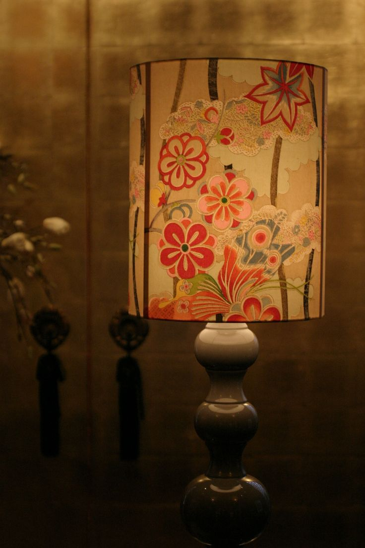 I love the vintage kimono silk on the lampshade.