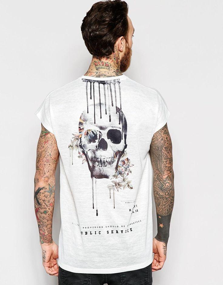 Imagen 1 de Camiseta extragrande sin mangas de efecto lino con estampado de calavera de ASOS