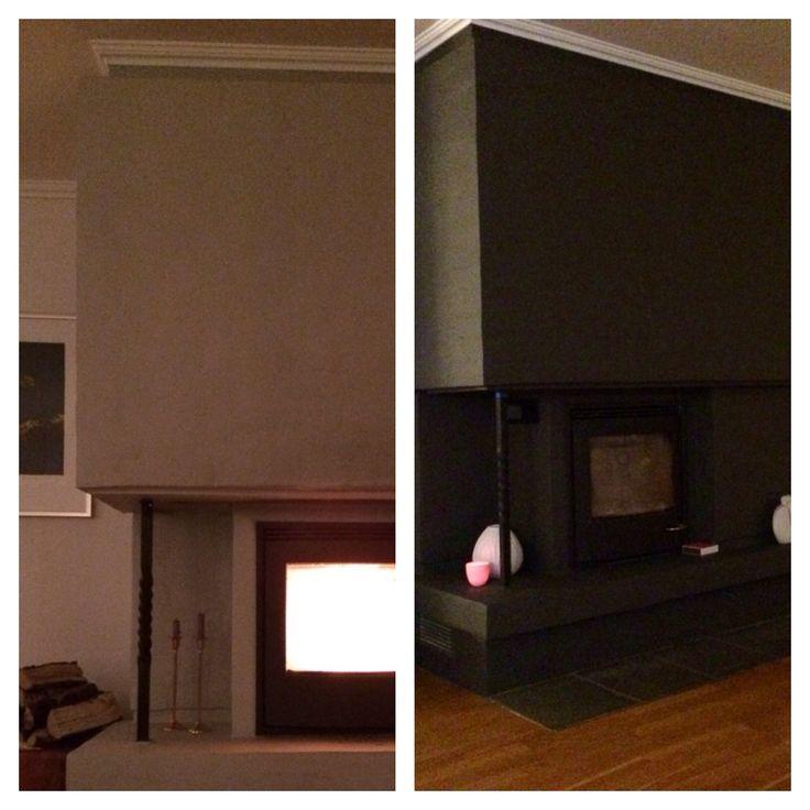 Peis før- og etter nytt malestrøk - Fireplace before and after new painting