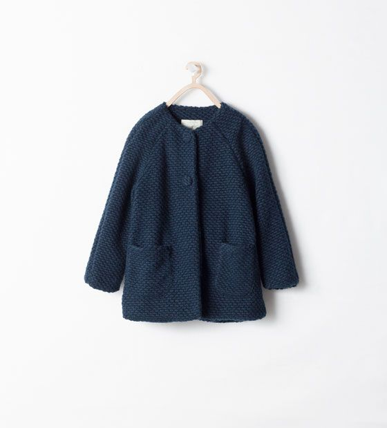 Round neck coat with printed lining Zara Girls AW 14