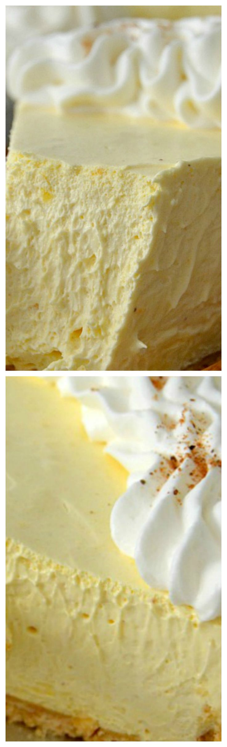 No-bake Eggnog Cream Pie ~ Easy to whip up and it tastes JUST like eggnog: thick, creamy and smooth with spices and wonderful vanilla flavor.