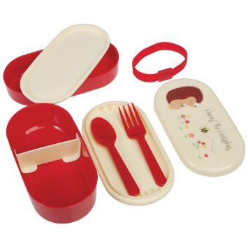 Children's Bento Box with Fork and Spoon dotcomgiftshop Honey The Hedgehog design: Amazon.co.uk: Kitchen & Home