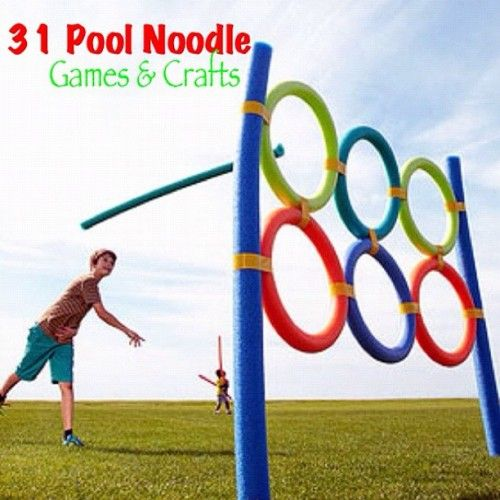 6-25-12 Eight noodles from the dollar store and some duct tape. Samuel helped build it and the kids are currently in the back yard throwing balls through it.: Pool Noodles, Pools Noodles Games, Idea, Dollar Stores, Backyard Games, Fun, Outdoor Games, Crafts, Kid
