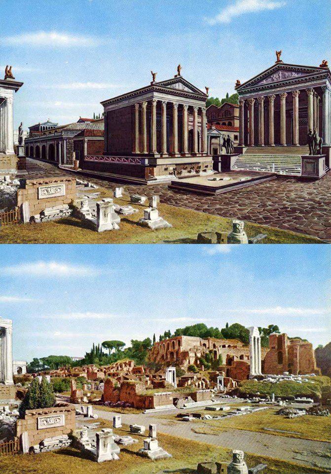 Roma Come Era Ai Tempi Dei Romani E Come E Oggi Ancient Roman Architecture Rome History Roman Empire