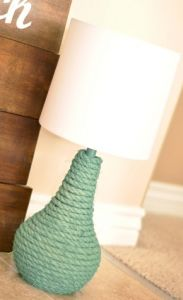 DIY Rope Lamp...with the right color this could add some pop to the room.