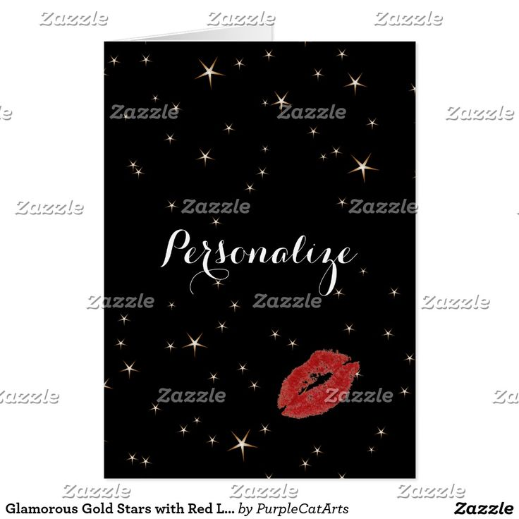 Missing You ~ Glamorous Gold Stars with Red Lipstick Kiss Personalized Note Card #stars #goldandblack #redkiss #missyou #notecard