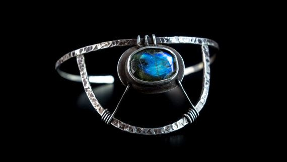 sterling silver bracelet boho style natural by Kirkihandmade