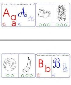 Des cartes à plastifier pour se familiariser avec les lettres , les différentes écritures et les syllabes.