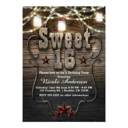 #country - #SWEET 16 Rustic Mason Jars Lights Birthday Party Card